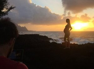 Sunset: In a post at 35 weeks, Bethany remarked of her pregnancy: 'My favorite thing about being pregnant is feeling my lil guy move inside of me. It's so strange yet the best feeling...'